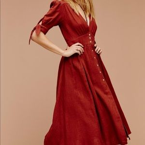 Free People Love of My Life Red Midi Dress